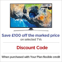 Save £100 off the marked price on selected samsung TVs