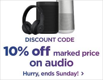 10% off marked price on audio