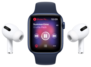 Airpods linked to watch playing music