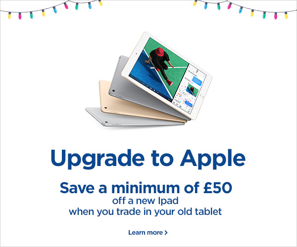 Save a minimum of £50 off a new iPad when you trade in your old tablet