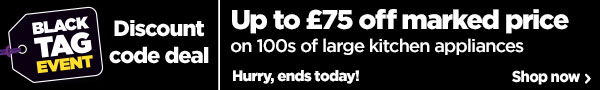 Up to £75 off large kitchen appliances