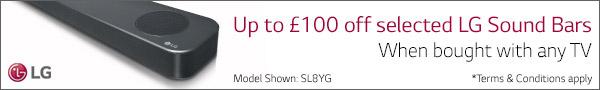 Up to £100 off selected LG soundbars