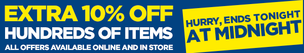 Extra 10% off - Hurry, ends Tuesday!