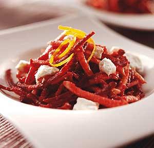 Beetroot, celeriac & goats cheese salad recipe made using a food processor