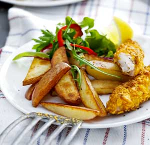 Fish and chips recipe made using a fryer