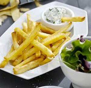 Fries with Yoghurt dip recipe using a fryer