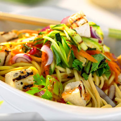 Warm Asian Style Noodle Salad