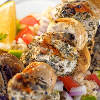 Herbed Chicken & Mushroom Kebabs