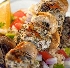 Herbed Chicken & Mushroom Kebabs recipe made using a health grills