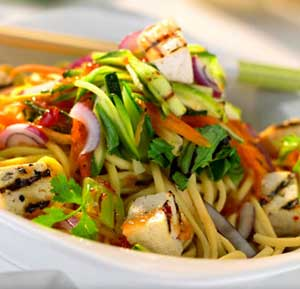 Warm Asian Style Noodle Salad recipe made using a health grills