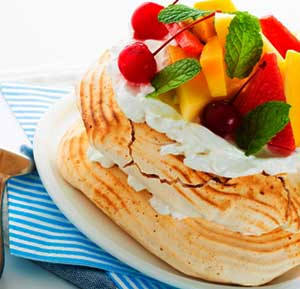 Pavlova with Exotic Fruits recipe made using a mixer