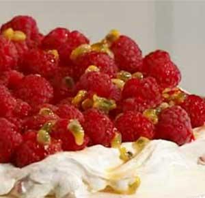 Rasberry Pavlova recipe made using a hand blender