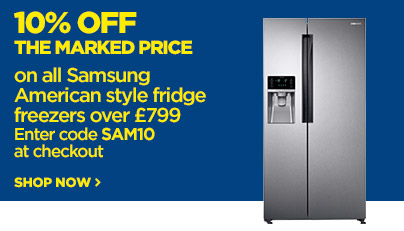 Save 10% off the marked price on all Samsung American Style fridge freezers over 799
