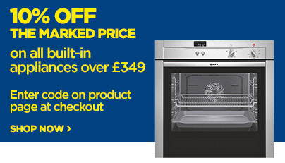 Save 10% off the marked price on all built in appliances over £349