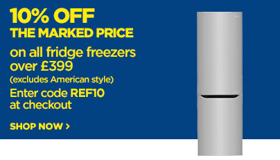 Save 10% off the marked price on selected fridge freezers