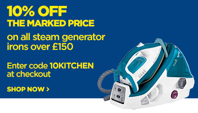Save 10% off the marked price on premium steam irons priced over £150