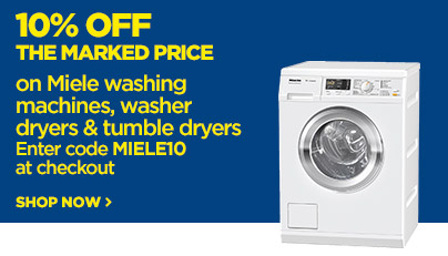 Save 10% off the marked price on Miele washing machines & tumble dryers