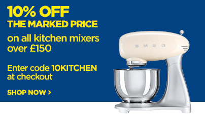 Save 10% off the marked price on kitchen mixers priced over £150