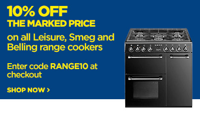 Save 10% off the marked price on all Leisure, Smeg and Belling Range Cookers