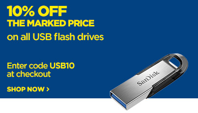 Save 10% off the marked price on on all USB Flash Drives