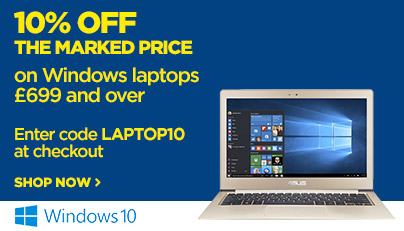 Save 10% off the marked price on all Windows laptops £699 and over