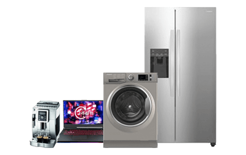 coffee maker, laptop, washing machine & freezer.