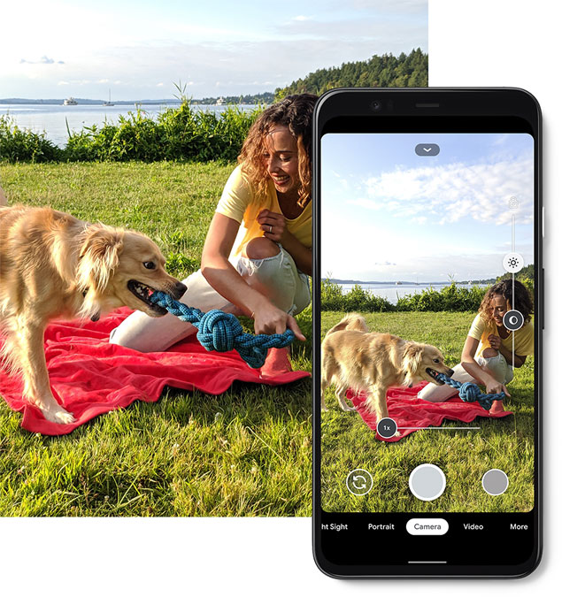 pixel 4 photo of a woman and dog