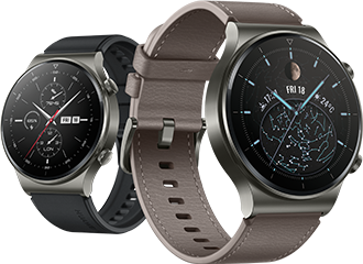 Huawei Watch GT 2 Pro in black and brown coloured straps