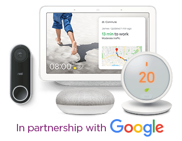 Image of a google home and google home mini side by side, with the text 'powered by google' next to it.
