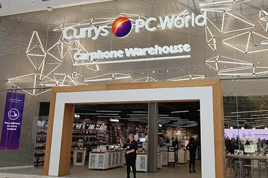 The front of the Currys store in Westfield white city.