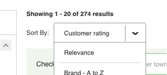 Sort by customer rating