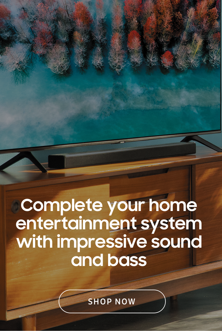Complete your home entertainment system with impressive sound and bass