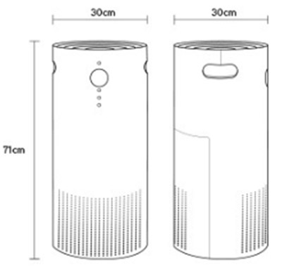 vax air purifier technical drawing