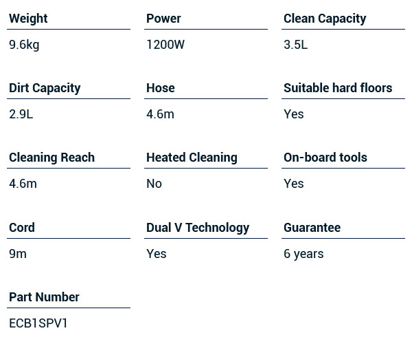 vax carpet washer technical specifications