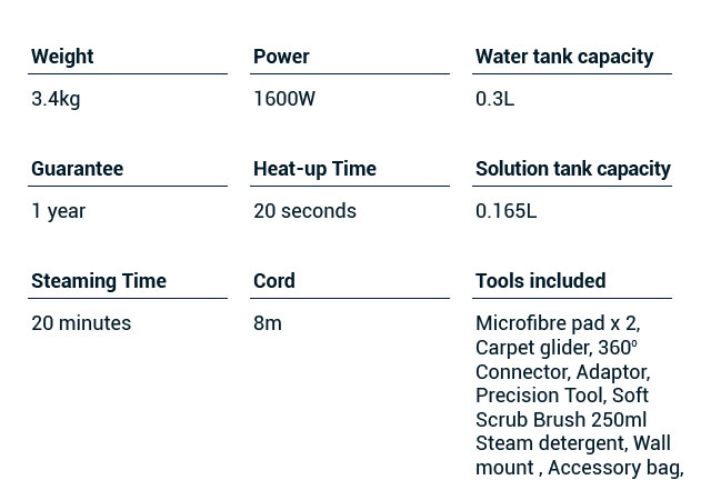 vax steam cleaner technical specifications
