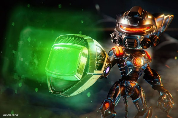 A character from Ratchet & Clank holding a gun