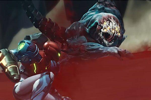Samus Aran fighting an alien in Metroid Dread