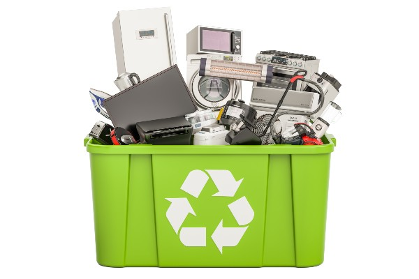 Recycling box filled with old electronics