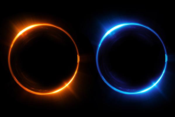 One blue and one orange portal