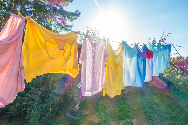 Washing hanging outside on a line