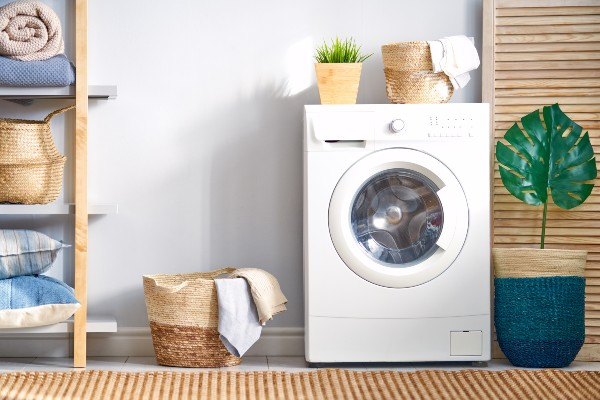 A washing machine in a nicely designed laundry room