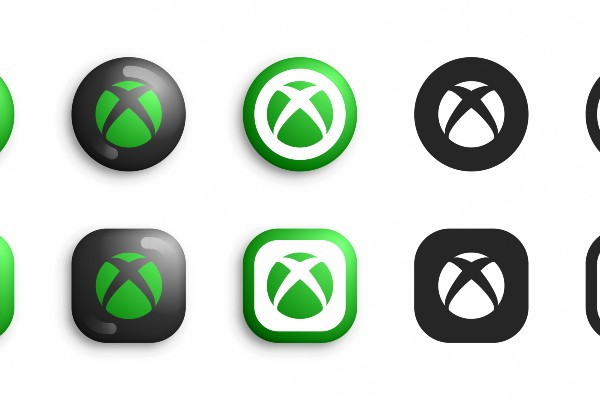 Different versions of the Xbox logo
