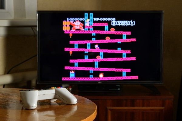TV screen showing the original Donkey Kong game