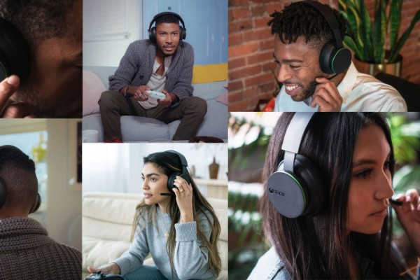 Different people wearing the Xbox Wireless headset