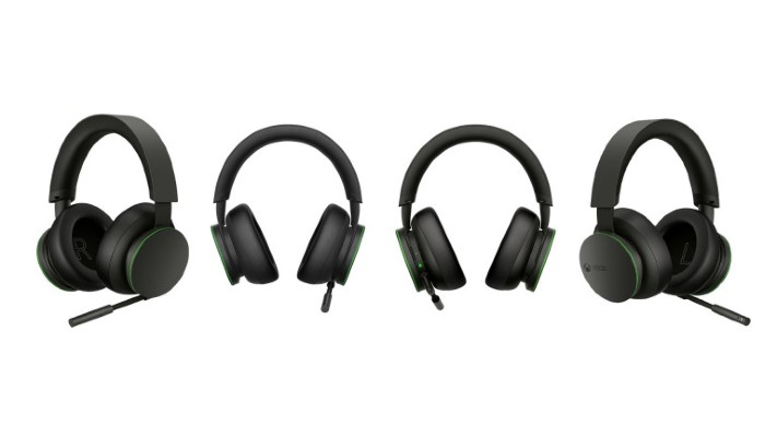 A front, back, and side views of the Xbox Wireless headset