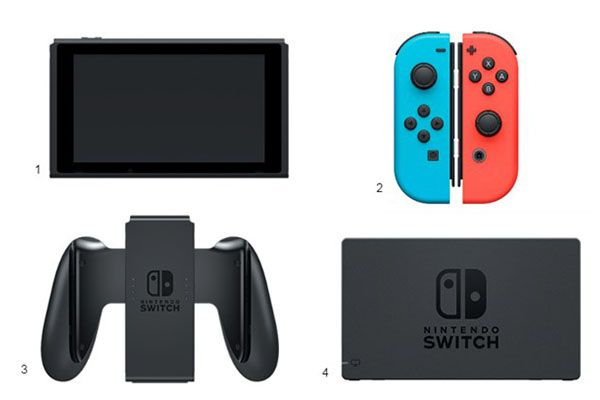 Everything that comes with the Nintendo Switch: tablet, Joy-Con controllers, TV dock, HDMI cable and charger