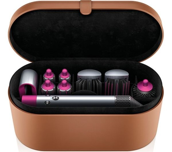 A Dyson Air Wrap in its case with all the different attachments.