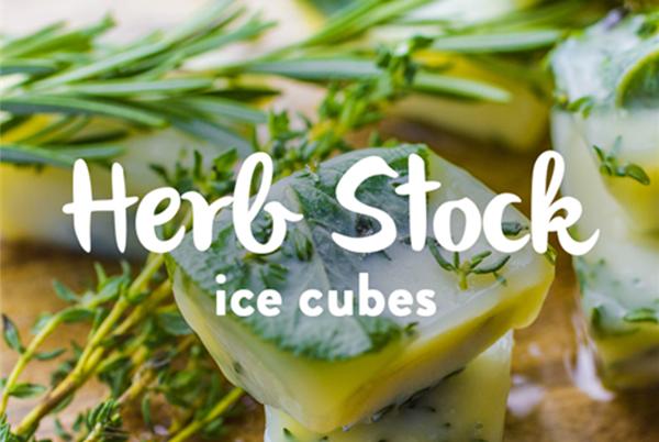 Herb stock ice cube