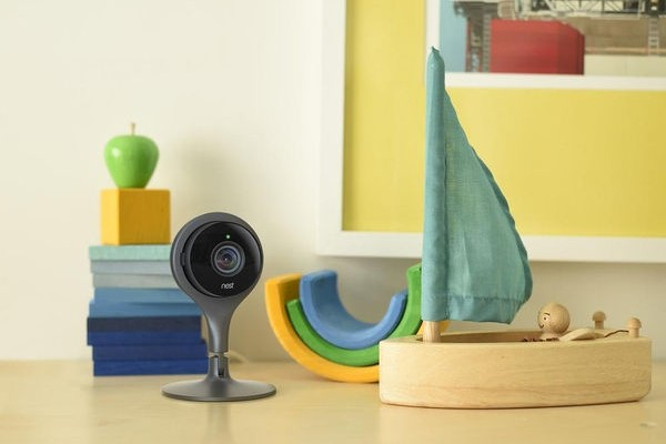 A Google Nest Cam Smart Security Camera in a child's bedroom